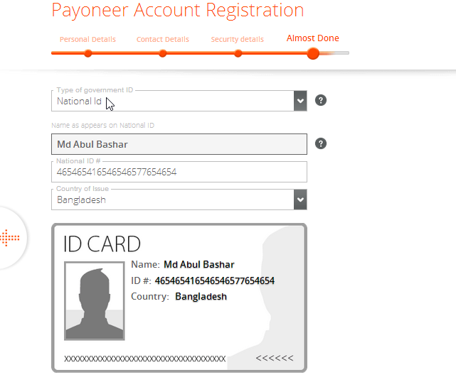 National ID Card Payoneer Master Card