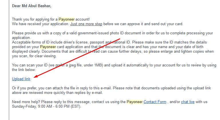 Payoneer Master Card Apply id upload