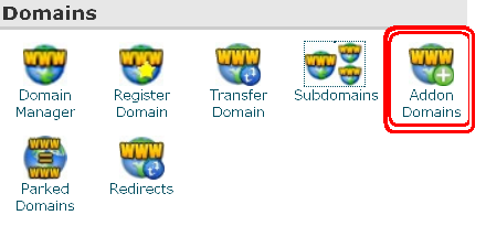 Addon domains